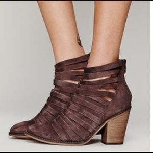 Free People 38 Hybrid Brown Strappy Ankle Booties